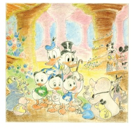 Carl Barks colored drawing Which Disney Theme Park is This?