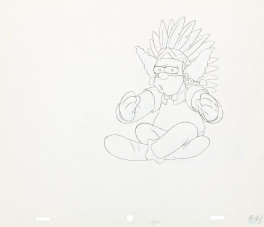The Simpsons Krusty The Clown Original Animation Art, 1991