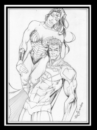 Dessin Original encré SUPERMAN et WONDER WOMAN par Alecsandro