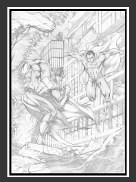 Dessin Original Superman Vs Batman par Madson Lima