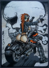 Sexy BIKER CHICK ON MOTORCYCLE BY SIMON BISLEY