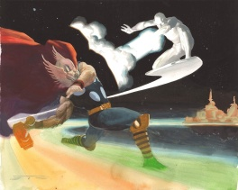 Thor vs Silver surfer on the Bifrőst