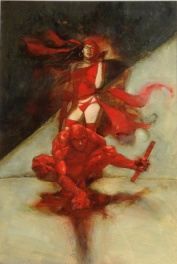 Daredevil and Elektra Poster Art by Kent Williams - Oil Painting circa 1991