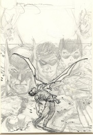Mike Kaluta Batman family cover prelim