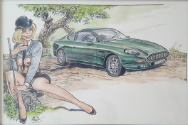 Belle aston martin DB7 et une jolie pin up