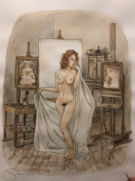 Margot posant nue - Illustration