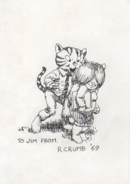 Robert Crumb 1965 Fritz the Cat rare finished ink drawing !