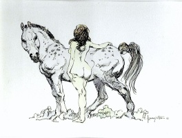 A Young Nude Girl and Her Horse Frazetta 1970s ink finished drawing