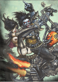 Lobo on a motorcycle with sexy Bikergirl