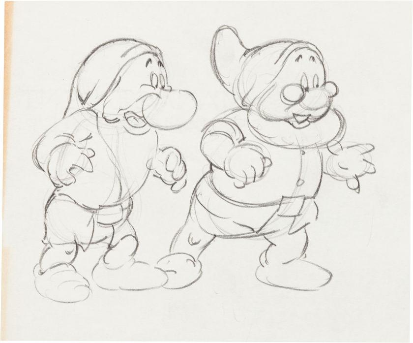 snow white and the seven dwarfs 1937 grumpy and doc walt disney par studios disney uvre originale - Dessin Walt Disney