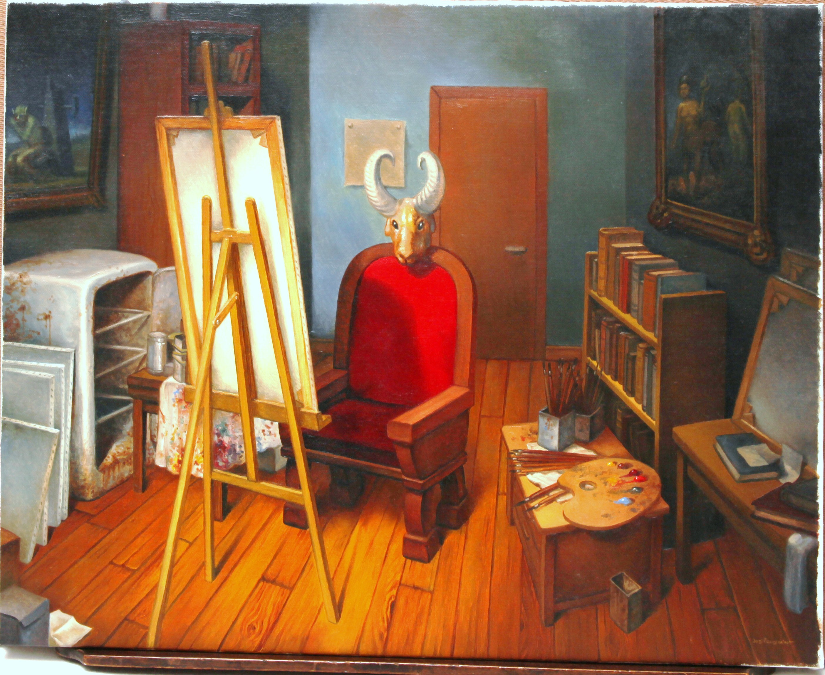 l 39 atelier du peintre par jos roosevelt illustration. Black Bedroom Furniture Sets. Home Design Ideas
