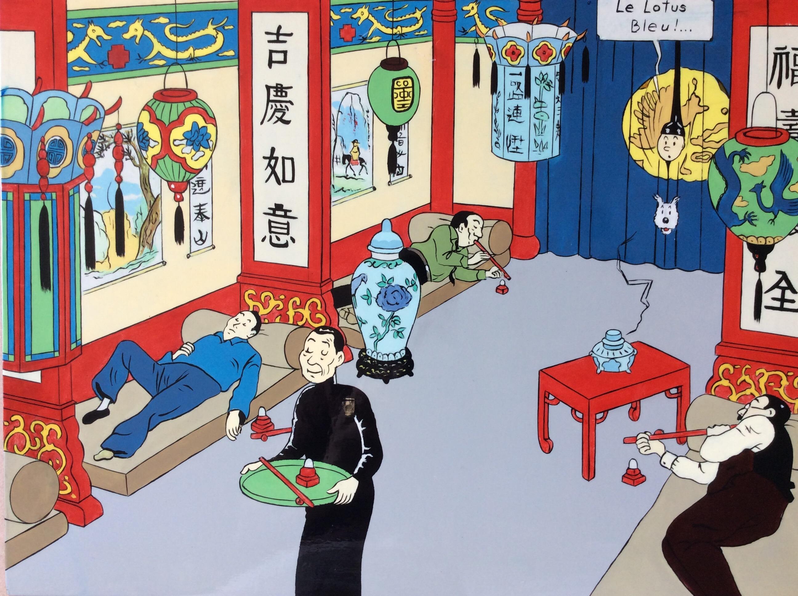 Tintin - Lotus Bleu par Hergé - Illustration