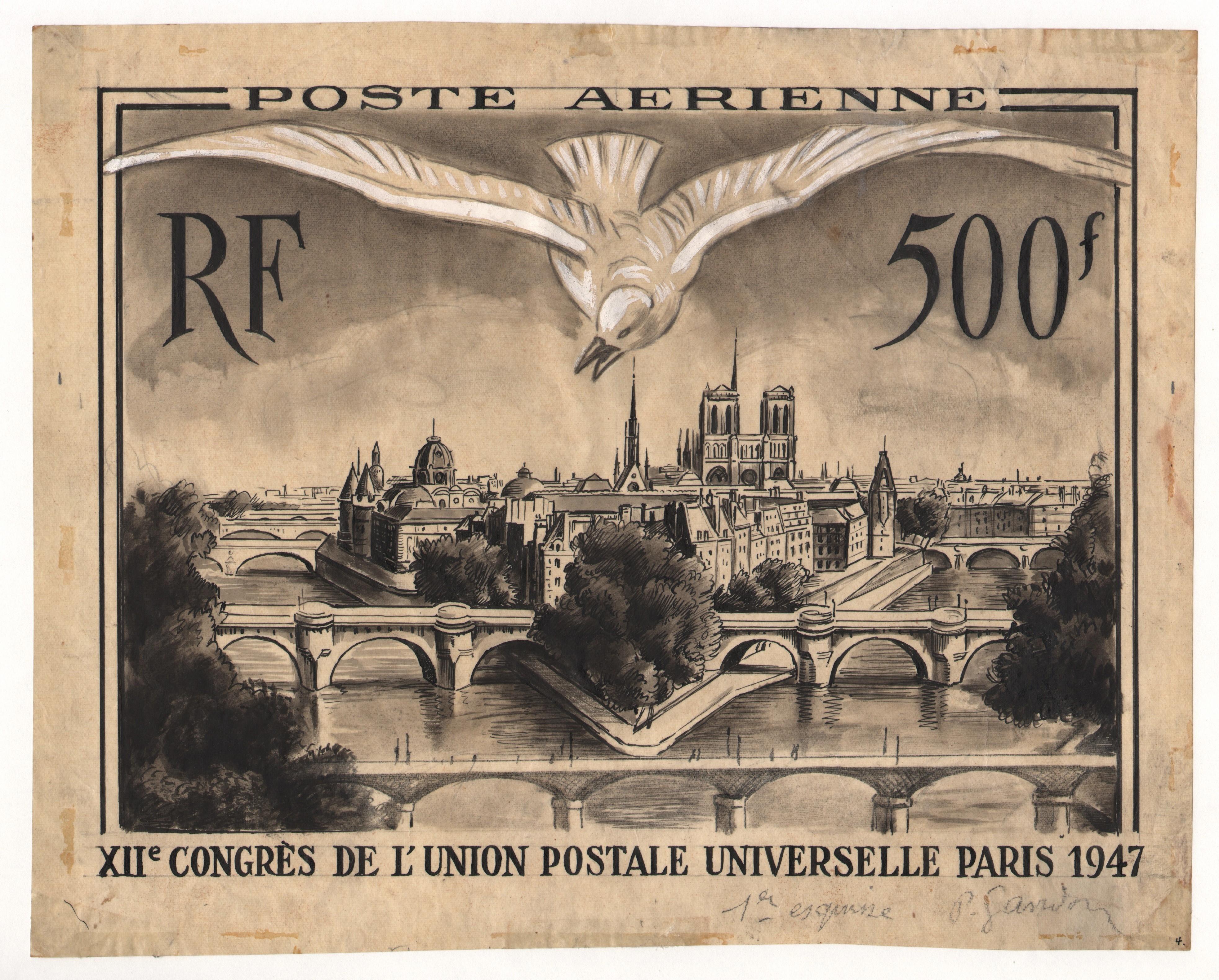 Dessin original (première esquise) pour le timbre du XII Congrès ...