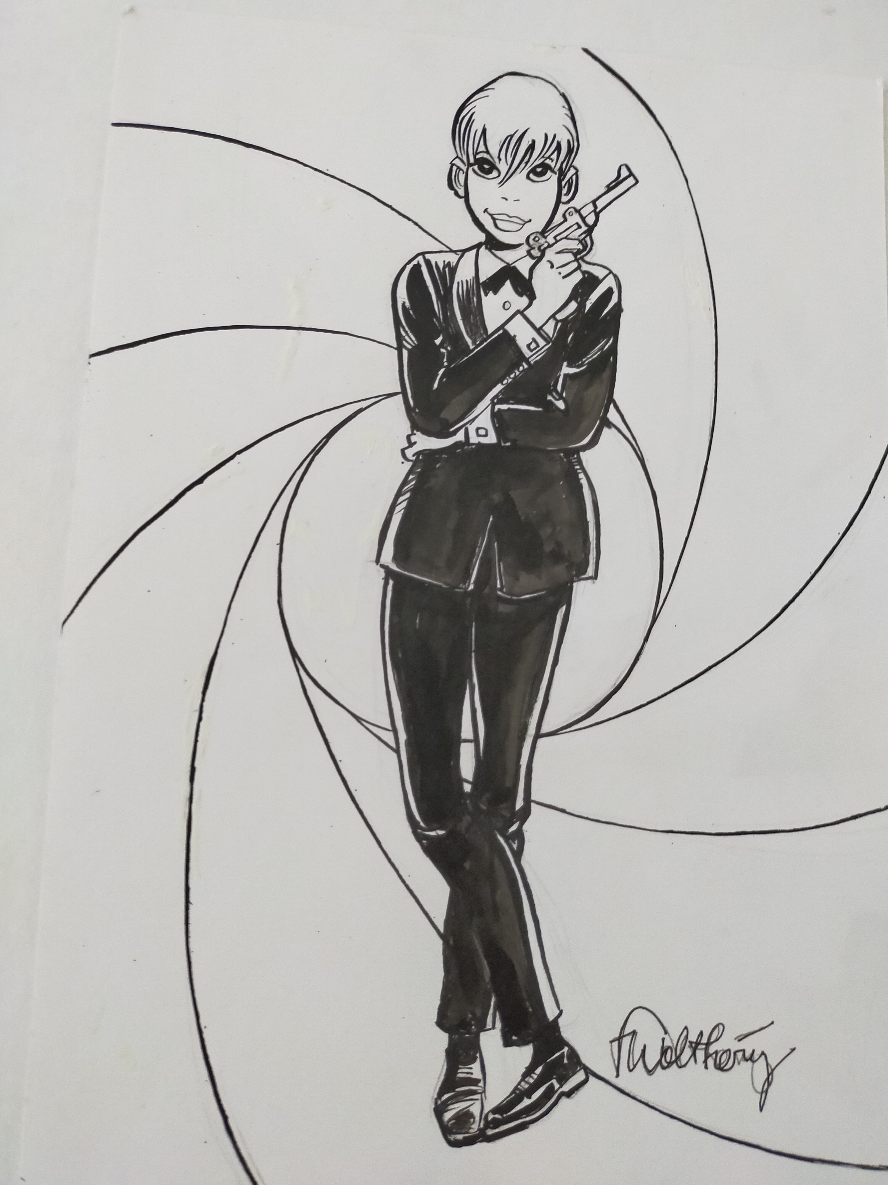 En vente - Natacha en James Bond par François Walthéry - Illustration