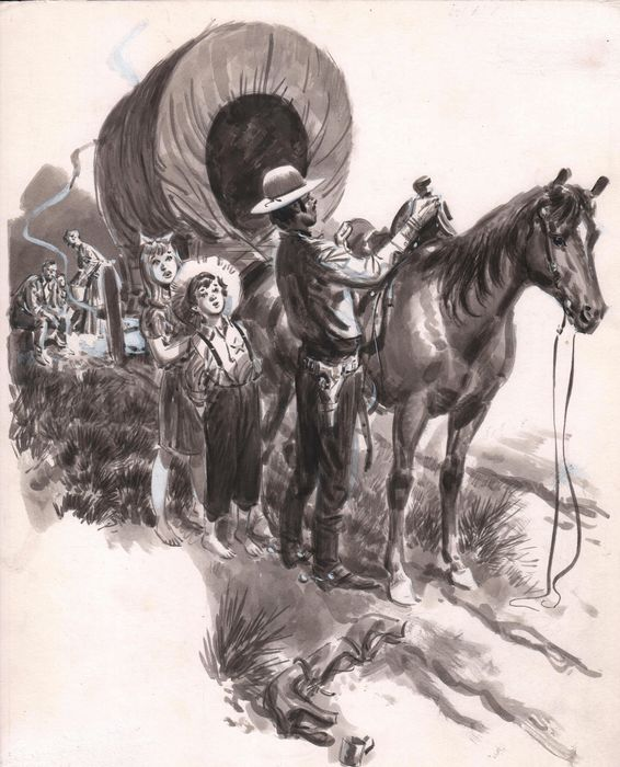 Cecil Doughty Illustration pour un western 1969-1970 by Cecil Langley Doughty - Illustration