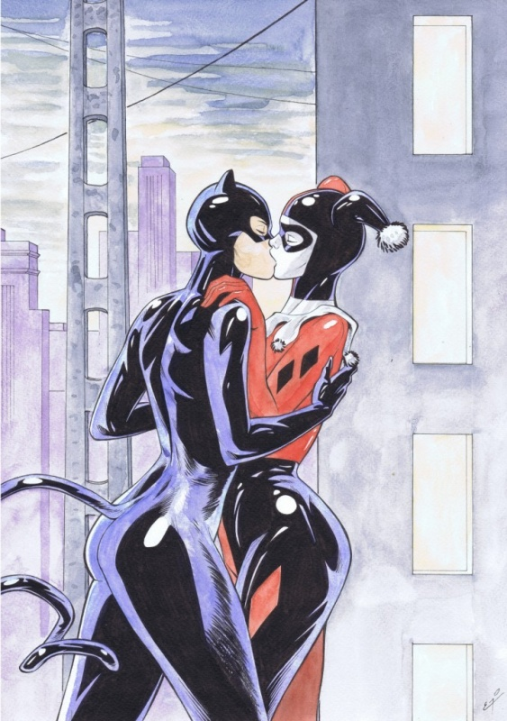 Catwoman et Harley Quinn by Éric Godeau - Illustration
