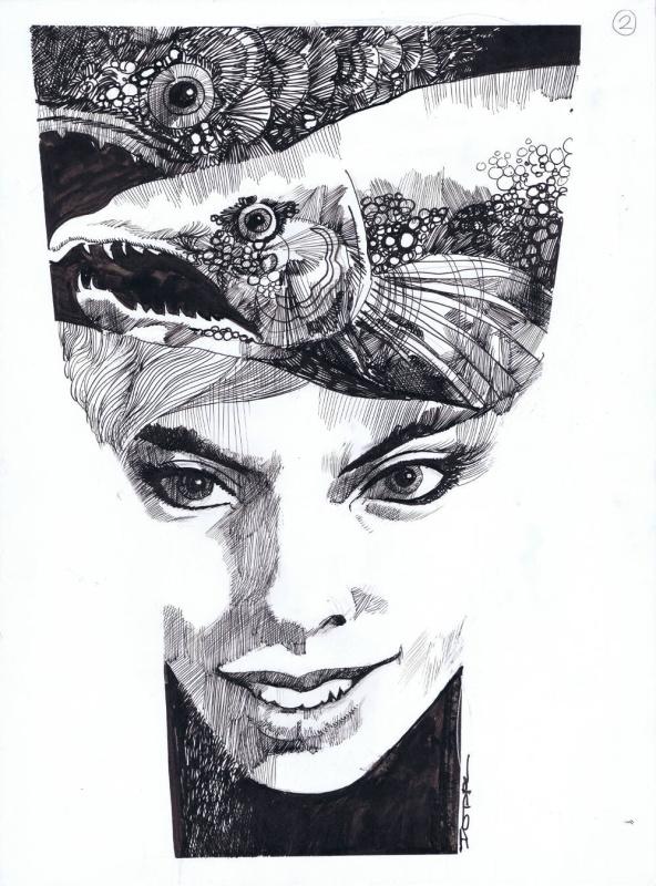Sergio Toppi Girl Illustration par Sergio Toppi - Illustration