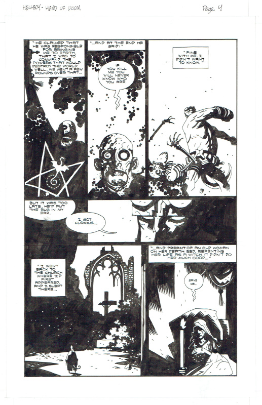 Origine de Hellboy - Right hand of doom par Mike Mignola - Planche originale