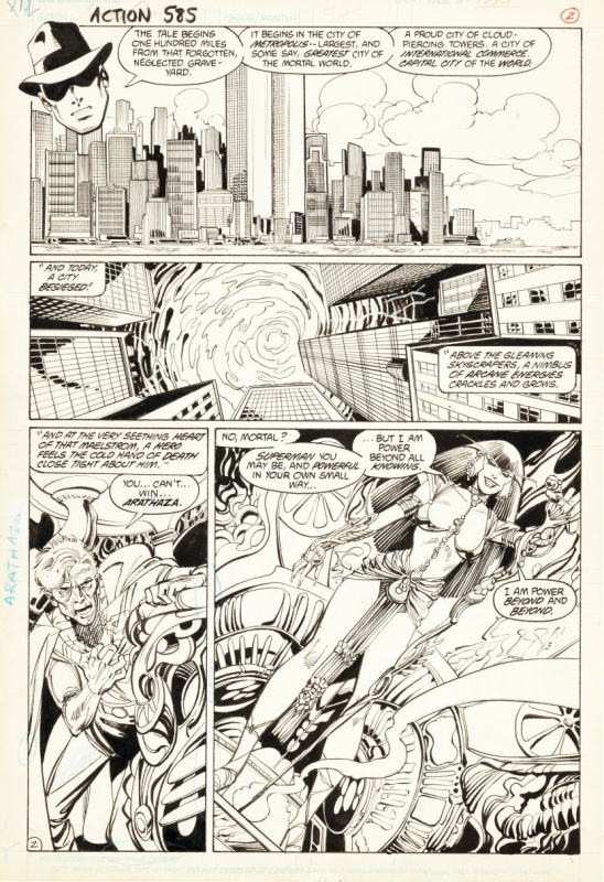 ACTION COMICS #585 page 2 - SUPERMAN & ARATHAZA, 1987 by John Byrne, Dick Giordano - Comic Strip