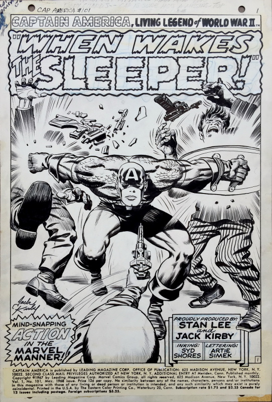 Captain America - issue 101 - title page by Jack Kirby, Syd Shores - Comic Strip