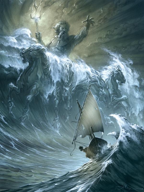 Le Courroux de Poseidon ( oeuvre vendue ) by Anthony Jean - Illustration