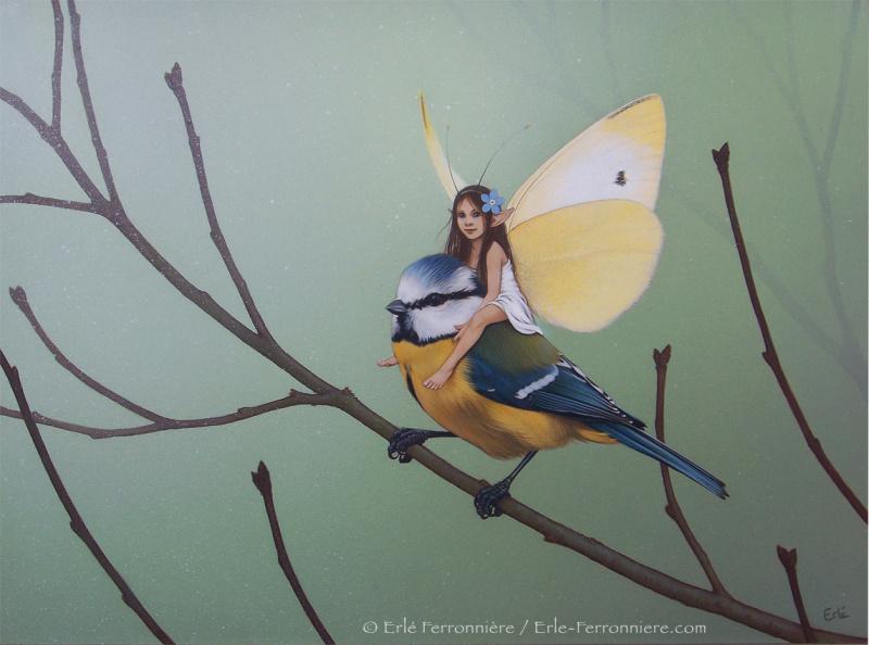 Fée sur une mésange par Erlé Ferronnière - Illustration