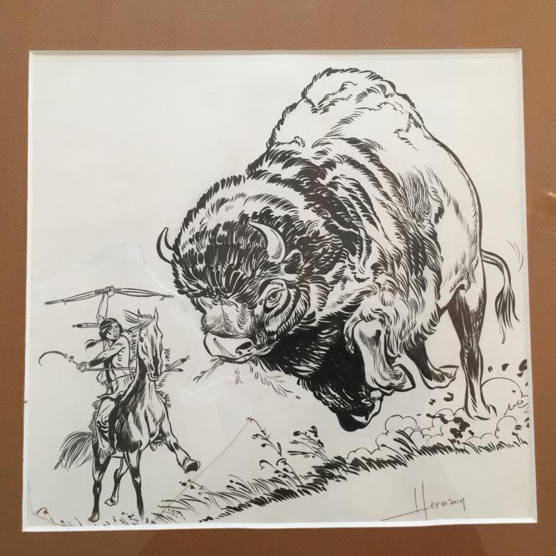 Bison & Indien, Dessin pour couverture de Tintin par ...