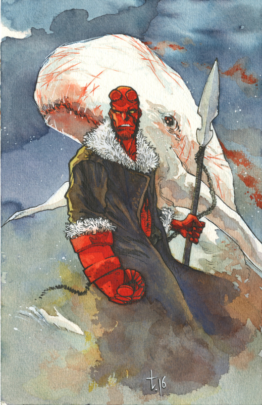 Hellboy vs Moby Dick par Tirso Cons - Illustration