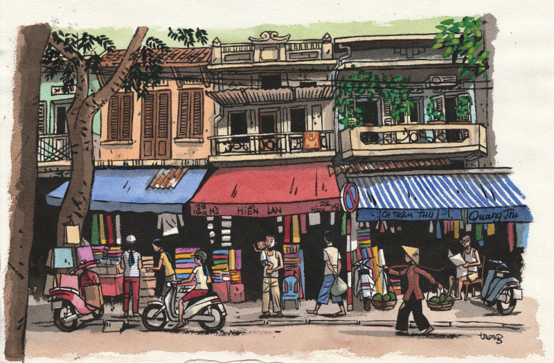 En vente - Nouveau : Marcelino Truong - 2013 - Hanoï, Rue du papier par Marcelino Truong - Illustration