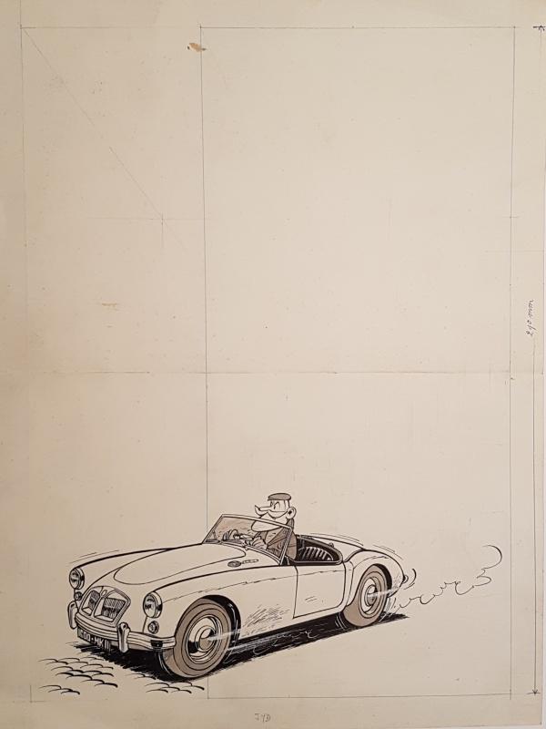 Clifton dans sa MG MK II par Raymond Macherot - Illustration