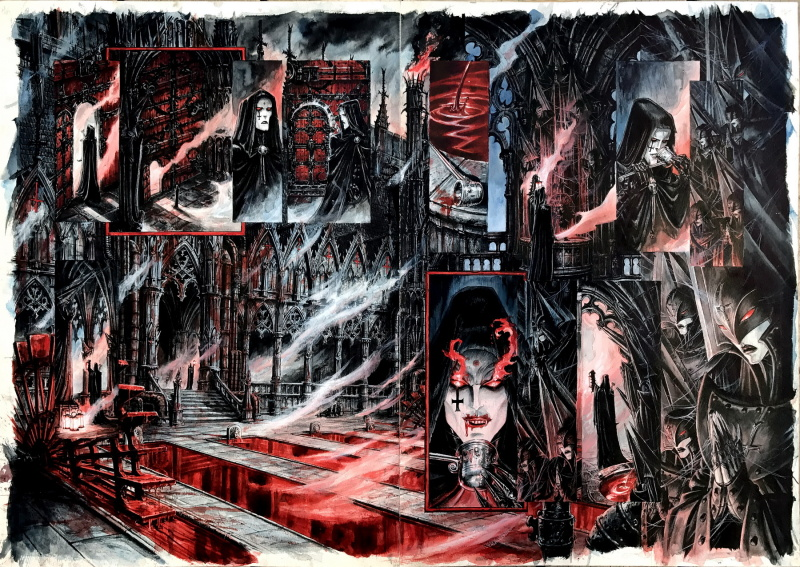 Requiem - Chevalier Vampire - Tome VI (Hellfire Club), double planche 46-47 by Olivier Ledroit - Comic Strip