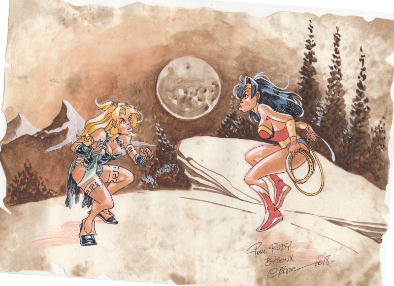 Battle of the Amazons -  Atalante vs Wonder Woman by Crisse - Illustration