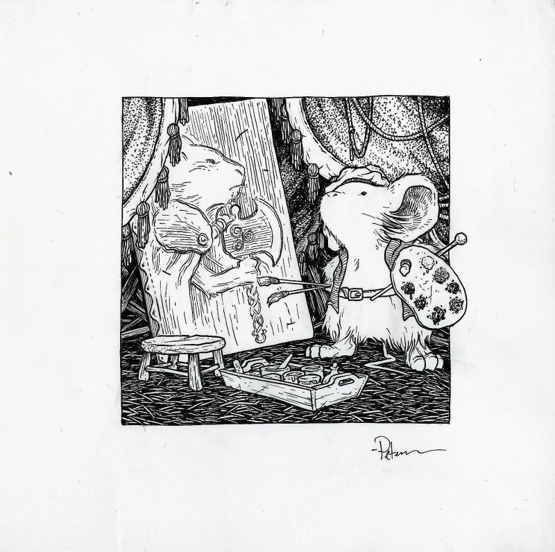 En vente - Mouse Guard inked illustration par David Petersen - Illustration