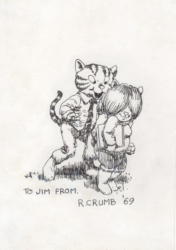 En vente - Robert Crumb 1965 Fritz the Cat rare finished ink drawing ! par Robert Crumb - Illustration