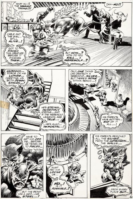 Berni Wrightson- Swamp Thing 4 - Werewolf and Swamp Thing Battle! 1973 by Bernie Wrightson - Comic Strip