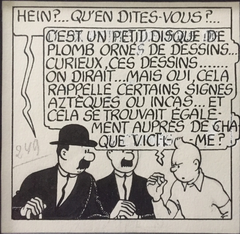 For sale - Case inédite à l'encre des 7 boules de cristal. by Hergé - Comic Strip