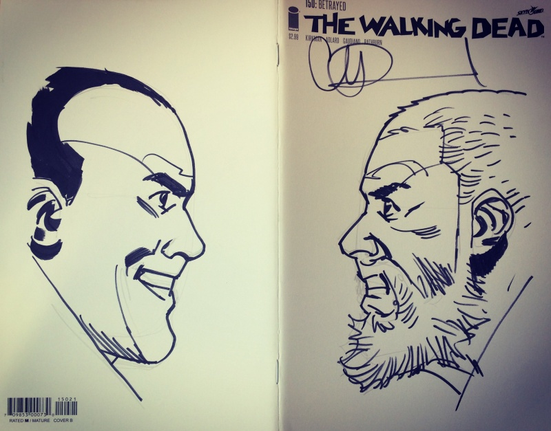 Negan face to face with Rick ? by Charlie Adlard - Sketch