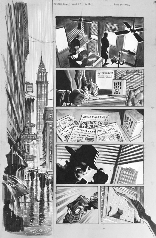 Ferreyra, Marvel, Spider-Man Noir, Issue #1, page 1, 2020. by Juan E. Ferreyra, Margaret Stohl - Comic Strip