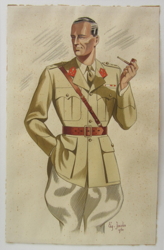 Soldiers uniform design by Edgar Pierre Jacobs - Illustration