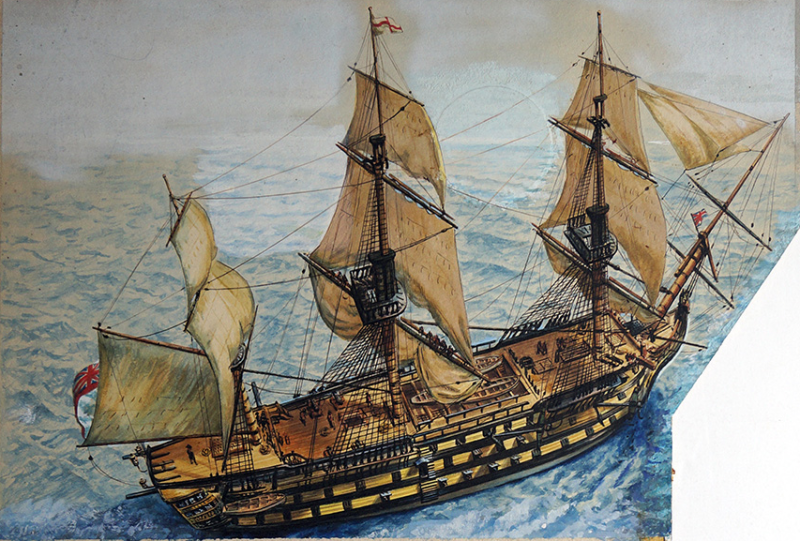H.m.s. Victory (Original) by Cecil Langley Doughty - Illustration