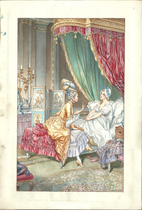 Ladies talking on the bed by Chéri Hérouard - Illustration